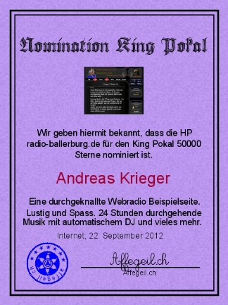 King Award Nominationsurkunde Radio Ballerburg