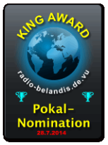 King Award Nominationsschild Radio Belandis