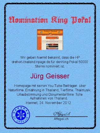 King Award Nominationsurkunde Drehort Thailand