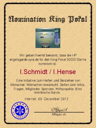 King Award Nominationsurkunde Engelsgarde
