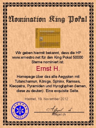 King Award Nominationsurkunde Ernestro