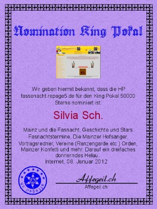 King Award Nominationsurkunde Fassenacht