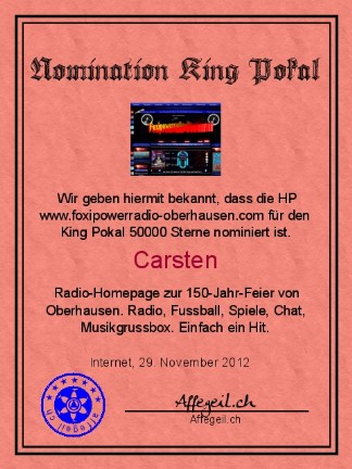 King Award Nominationsurkunde Foxipower-Radio Oberhausen