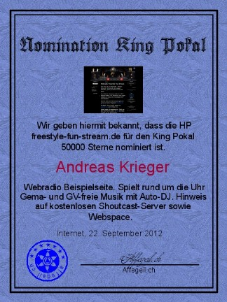 King Award Nominationsurkunde Freestyle fun stream
