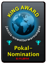 King Award Nominationsschild Jannis Unwetterwarnungen