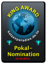 King Award Nominationsschild Katzenparadies