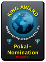 King Award Nominationsschild Lagerbulle Web-Hostell