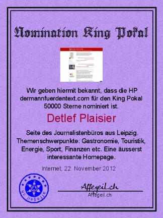 King Award Nominationsurkunde Der Mann für den Text