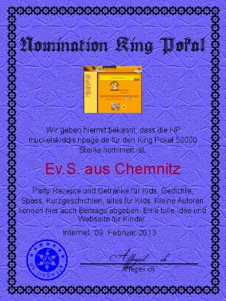 King Award Nominationsurkunde Muckelskiddis