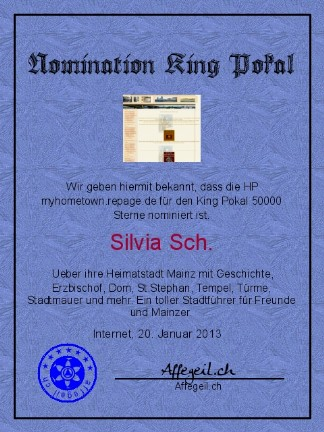 King Award Nominationsurkunde My Hometown