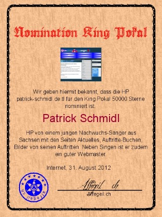 King Award Nominationsurkunde Patrick Schmidl
