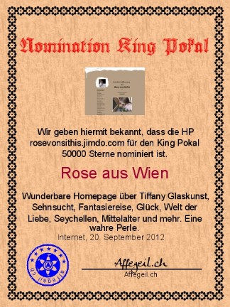 King Award Nominationsurkunde Rose von Sithis