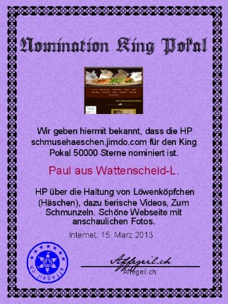 King Award Nominationsurkunde Schmuse-Häschen