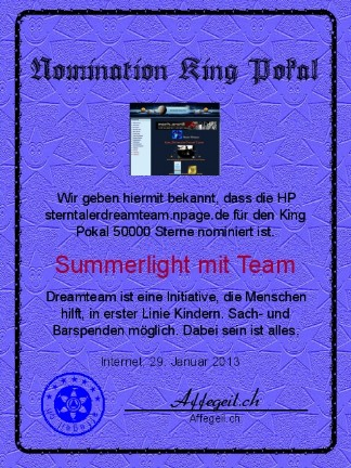 King Award Nominationsurkunde Sterntaler Dreamteam