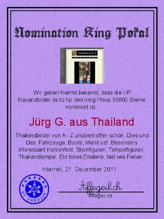 King Award Nominationsurkunde Thailandbilder
