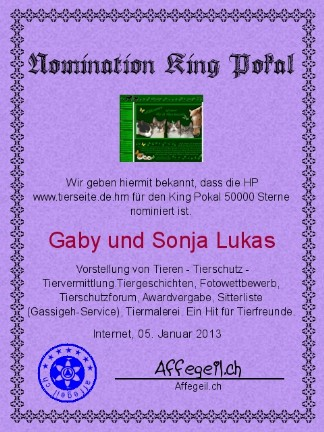 King Award Nominationsurkunde Tierseite