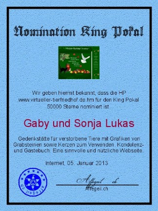 King Award Nominationsurkunde Virtueller Tierfriedhof