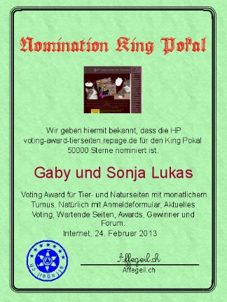 King Award Nominationsurkunde Voting-Award Tierseiten