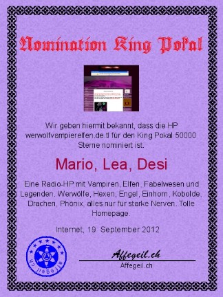 King Award Nominationsurkunde Werwolf Vampier Elfen