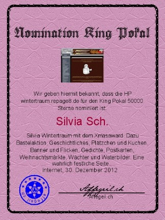 King Award Nominationsurkunde Wintertraum