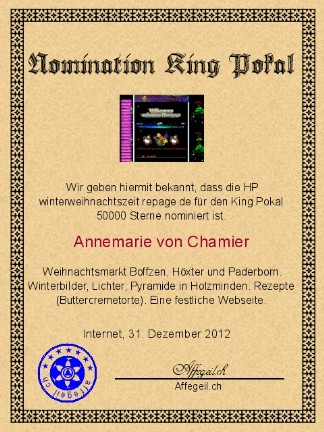 King Award Nominationsurkunde Winterweihnachtszeit